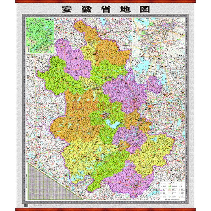 采用最新的导航地图数据,全面反映安徽省级、地级、县级政区   详细显示省会、地级城市、区县、乡镇、村级居民地分布及名称   高速公路、国道、省道、县乡道公路网走向、途经点、里程等内容   表示安徽省及周边地区的高速公路交通要素,包括新高速公路编号、新高速公路名称、出入口位置和名称、服务区位置和名称等   插图表示安徽省地形,安徽省公路里程表
