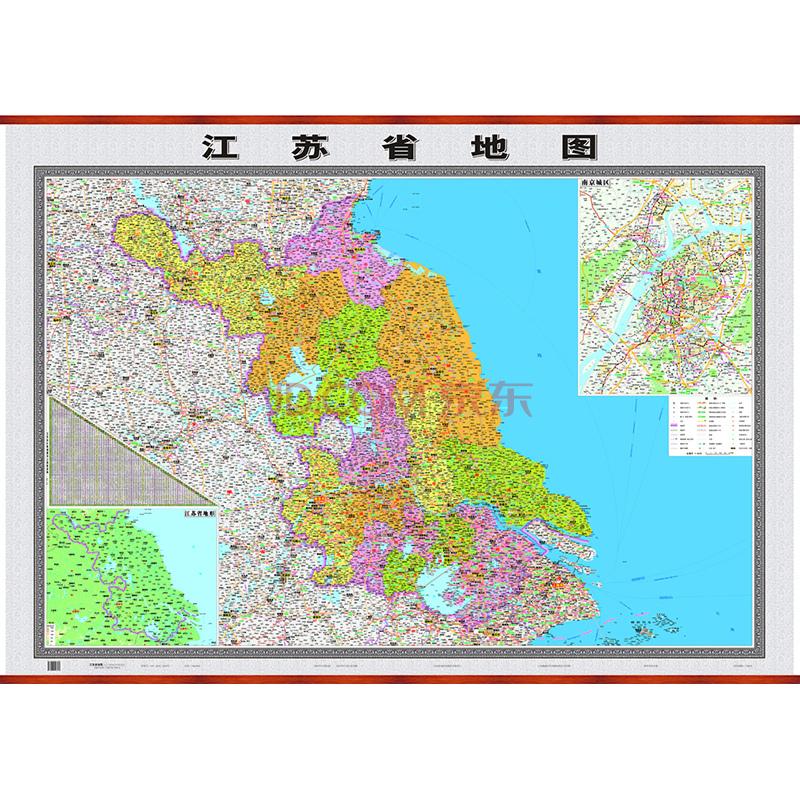采用最新的导航地图数据,全面反映江苏省级、地级、县级政区   详细显示省会、地级城市、区县、乡镇、村级居民地分布及名称   高速公路、国道、省道、县乡道公路网走向、途经点、里程等内容   表示江苏省及周边地区的高速公路交通要素,包括新高速公路编号、新高速公路名称、出入口位置和名称、服务区位置和名称等   插图表示江苏省地形,江苏省公路里程表